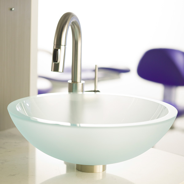 A-dec Inspire dental cabinets with vessel sink