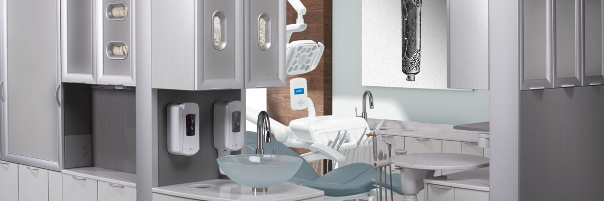 A-dec Inspire dental cabinets in operatory