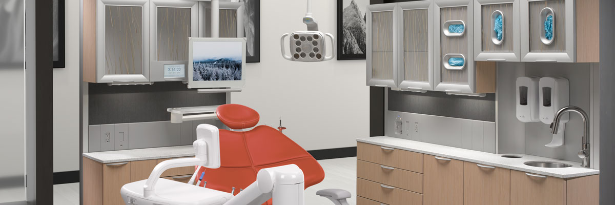 A-dec 500 dental chair in A-dec Inspire dental operatory