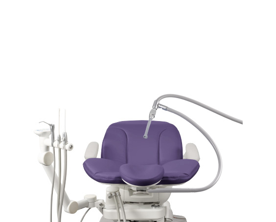 A-dec 400 dental chair with assistants instrumentation and third-hand HVE holder