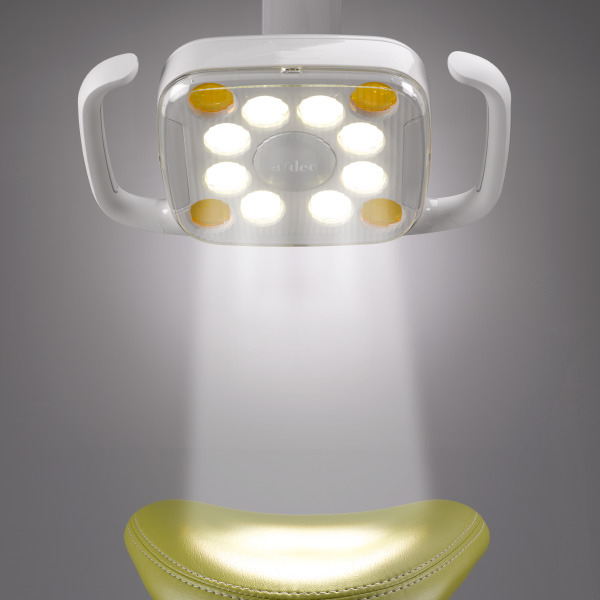 A-dec 500 LED dental light with stadium lighting