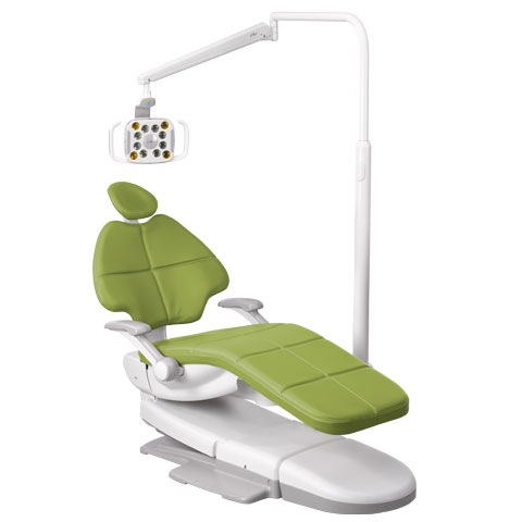 A-dec 500 LED dental light mounted on an A-dec 500 dental chair