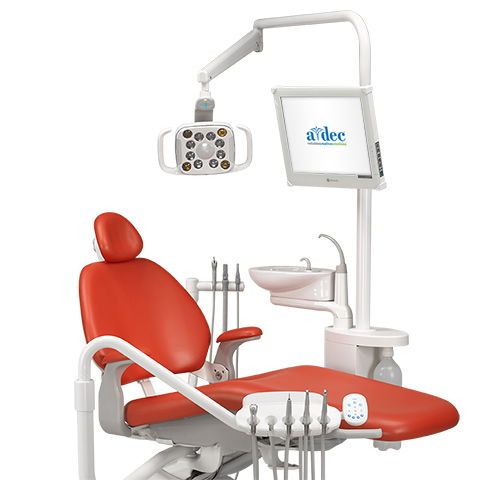 A-dec 500 LED dental light mounted to the Performer support center