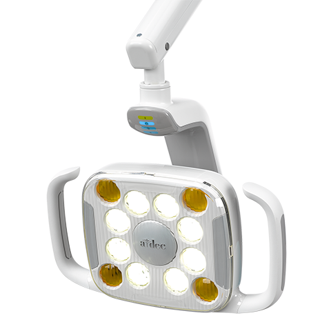 A-dec 500 LED dental light with light on