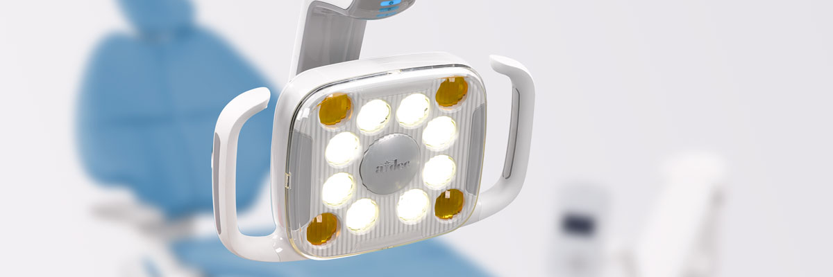 A-dec 500 LED dental light and A-dec 500 dental chair