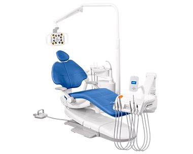 A-dec 500 dental equipment with Sky Blue formed upholstery thumb