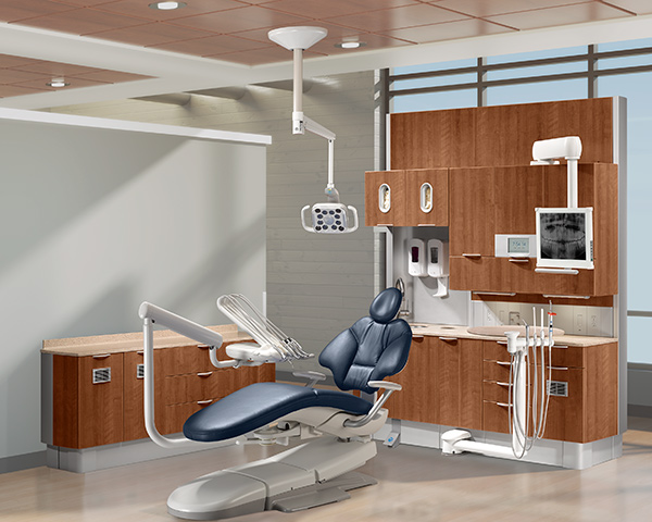 A-dec 400 dental chair with Diplomat blue upholstery and A-dec Inspire dental cabinets