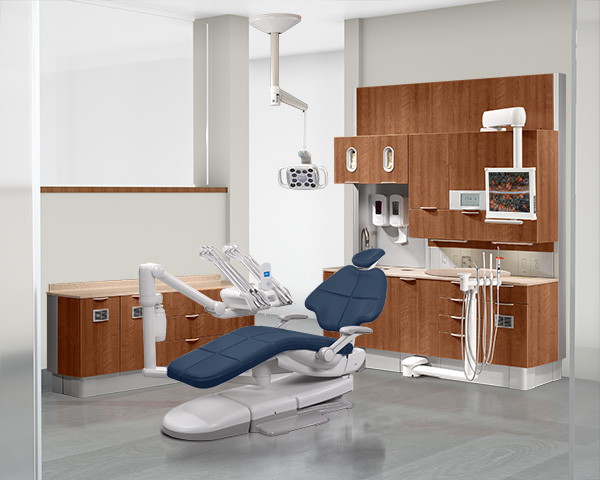 A-dec 500 dental chair with diplomat blue upholstery in dental operatory