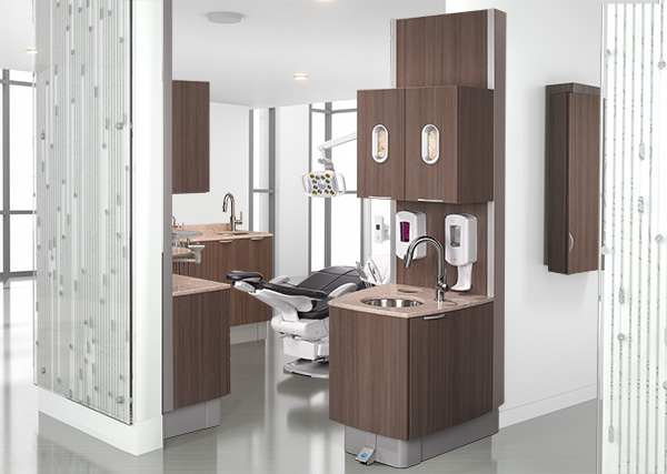 A-dec 500 dental chair with A-dec Inspire dental cabinets