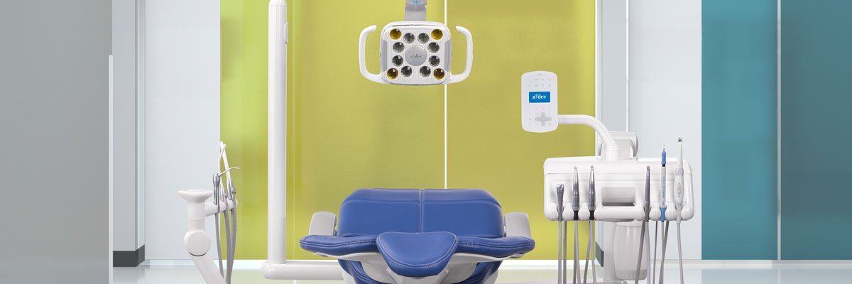 A-dec dental chair with campfire upholstery in dental operatory