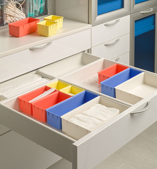 Dental workflow streamlined with color-coded containers