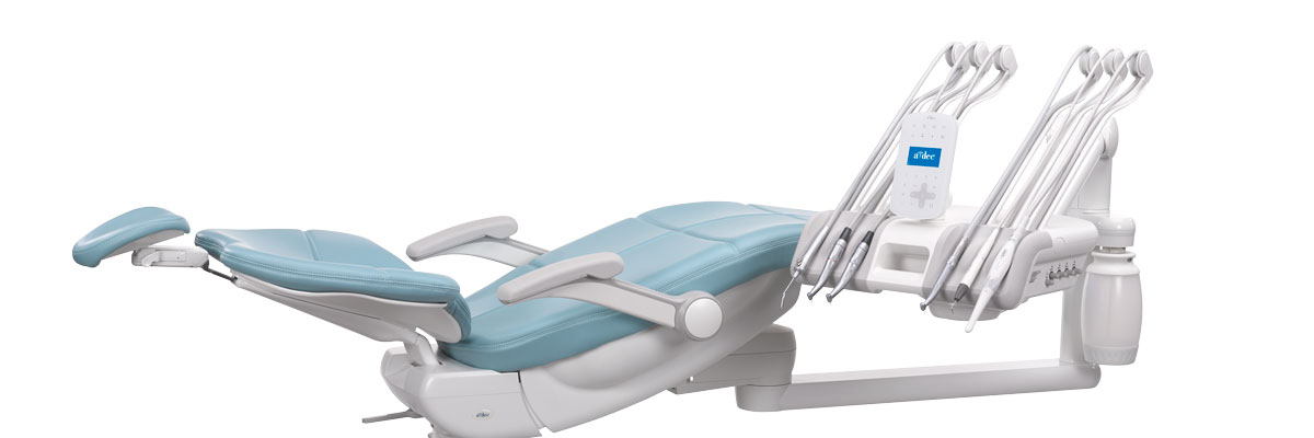 A-dec 500 dental chair in supine position